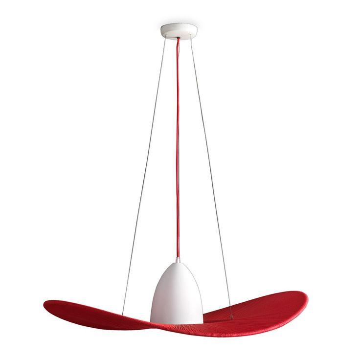 L mpara de techo colgante modelo plumas en color rojo es - Lamparas de techo para comedor ...