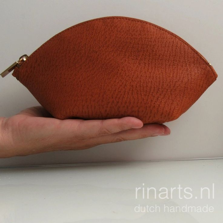Leather bag organizer / zipper pouch / cosmetic bag WEDGE in rust / cognac cow leather and cognac zipper by rinarts on Etsy