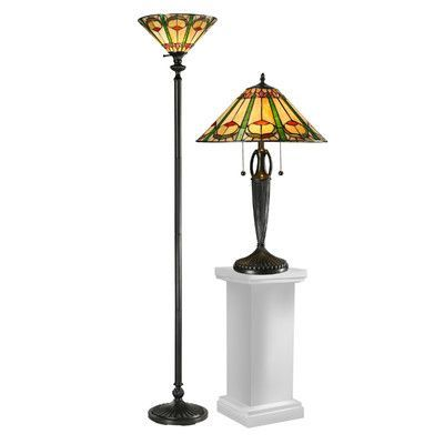 Dale Tiffany Quill 2 Piece Table and Floor Lamp Set