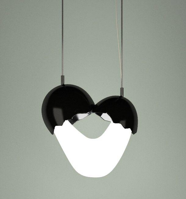 Ingeniosa lámpara diseño rompiendo un huevo