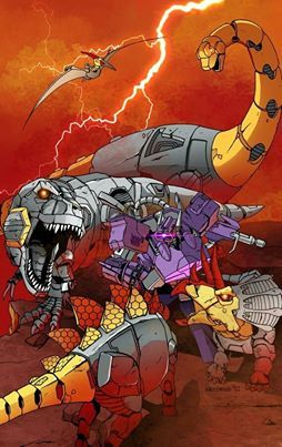 Transformers - Dinobots Favourite IDW comic, my two favs battling it out!