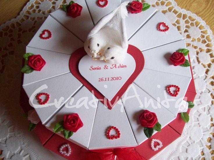 Hochzeitstorte 2-stöckig Rot-Weiß