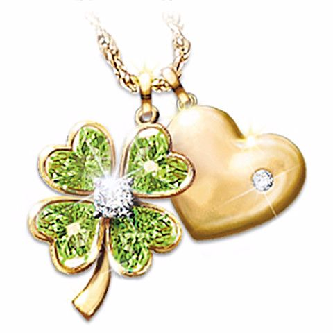 Good Luck Irish Pendant Necklace Jewelry Four-leaf clover and engraved heart design in 24K-gold plating. Genuine solitaire diamond, peridot gemstones, luminous white topaz. Gift box. $119.00