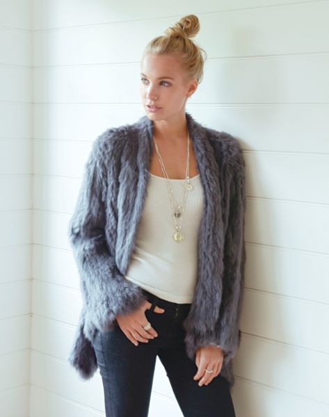 Rabbit Fur Swing Jacket gms silver 100% Rabbit fur jacket. ♥♥♥