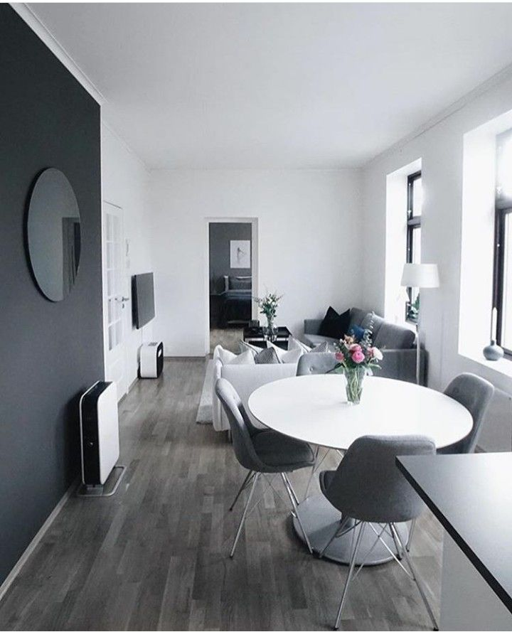 Black White And Gray Scandinavian Living Space Mostly White Walls And Bare Windows For Maximum Brightness Black Apartment Interior Apartment Decor Interior