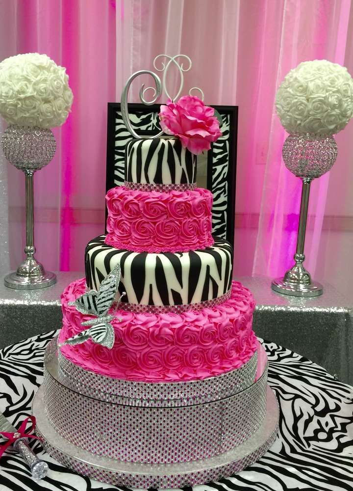 Zebra print Quinceañera party cake! See more party planning ideas at CatchMyParty.com! Party