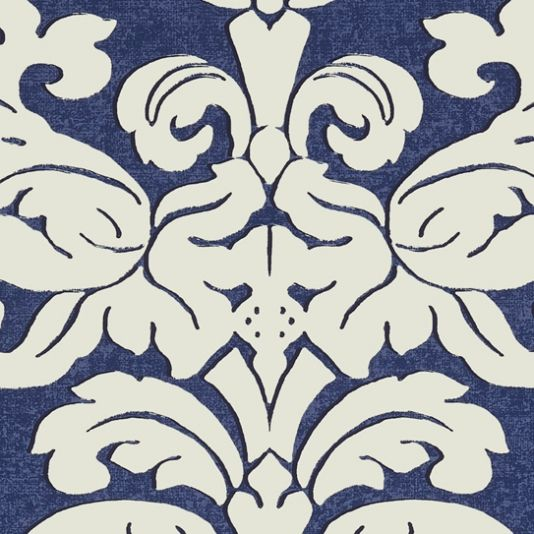 Trelawny Damask Wallpaper This large-scale Trelawny Damask design is a traditional pattern that has been translated to a cleaner shape in 7 versatile colourways, such as this navy blue.
