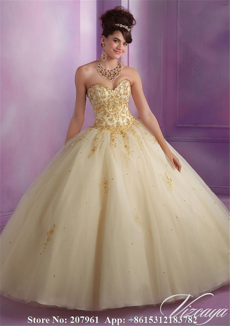 Quinceanera dresses gold and white background