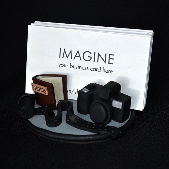 Photographer's Camera Polymer Clay Business Card Holder