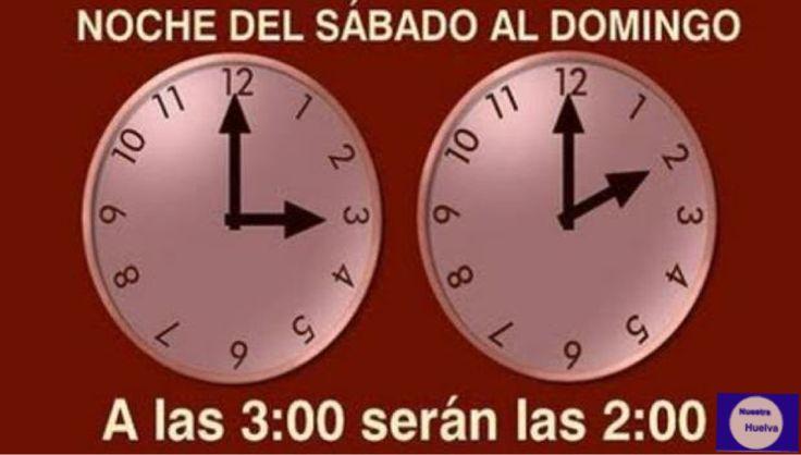 #cambiodehora y manecillas del reloj esta noche las 3 AM serán las 2 AM #otoño #huelva #nuestrahuelva
