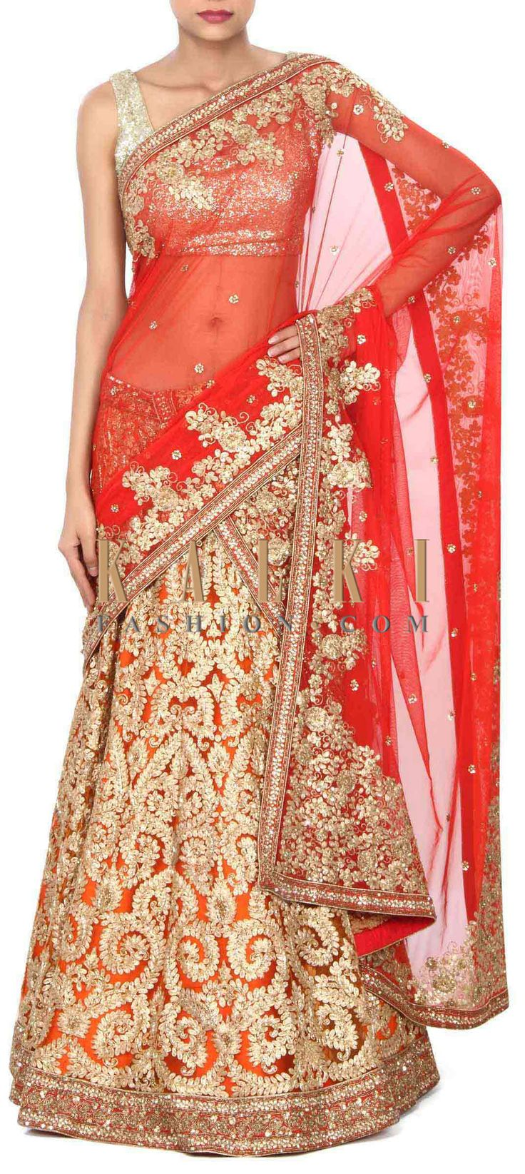 Buy this Orange and red lehenga with zari and sequin embroidery only on Kalki