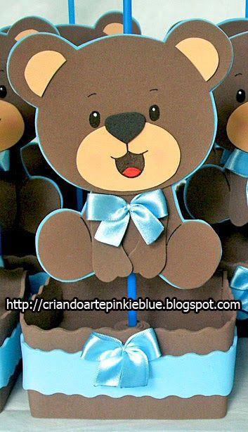 Pinkie Blue Artigos para festa: Ursinhos marrom e azul de eva-Centro de Mesa