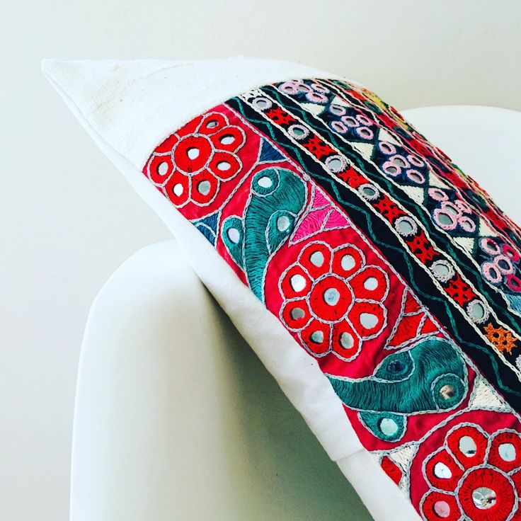 This Pillow will be a HAPPY Reflection of your Style of Worldly Adventure! Literally, Beautifully Handwoven Embroidered Fabric from India is Detailed with Small Round Mirrors in Place with Intricate Embroidery of Stylized Floral Motifs.