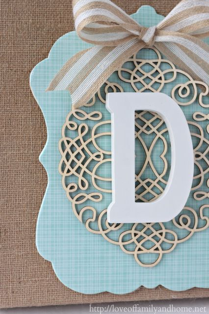 diy layered burlap monogram, crafts, decoupage, Detailed beauty shot Love that laser wood out piece My favorite