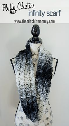 Make this beautiful ombre infinity scarf with Lion Brand Scarfie! Scarf of the Month Club hosted by Oombawka Design and The Stitchin' Mommy - 2 FREE crochet patterns every month, for 12 months! February Pattern: Fluffy Clusters Infinity Scarf | www.thestitchinmommy.com