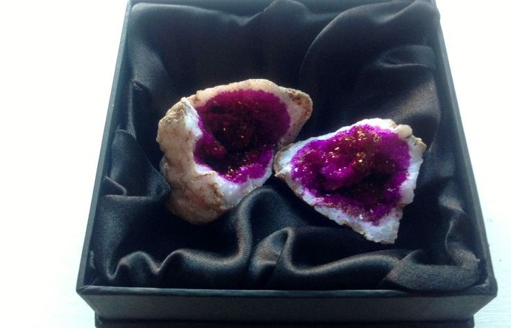 Purple & Gold Flakes Moroccan Geode with Lovely Black Satin Gift Box