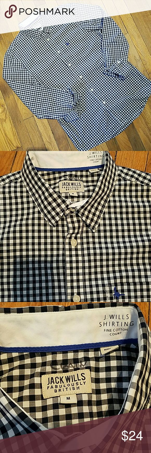 Jack Wills navy gingham M 100% cotton shirt Jack Wills navy gingham M 100% cotton shirt. Classic style J.Wills button down in like new condition,  has writing at neck that is not visible from other side. Jack wills Shirts
