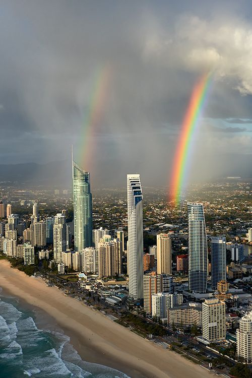 Surfers Paradise, Gold Coast, Australia with beautiful double rainbows.