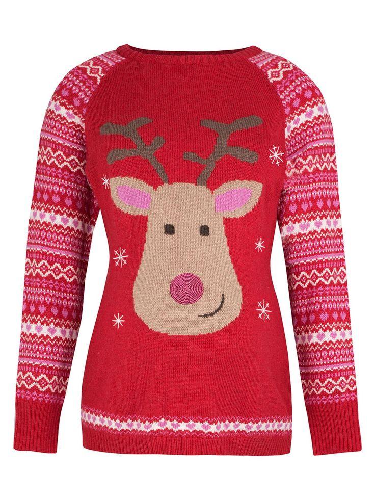 Red Reindeer Maternity Christmas Jumper   JoJo Maman Bébé