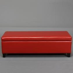 York Red Bonded Leather Storage Ottoman By Christopher Knight Home By Christopher Knight Home