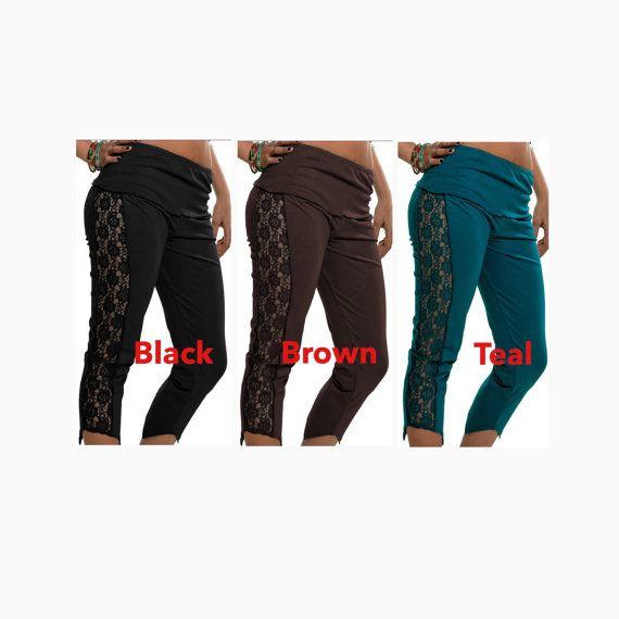YOGA LEGGINGs - UK 10/12 (USA 6/8) ASSORTEd Colours, Yoga pants, gothic leggings, lace leggings, goth pants trousers, goth clothing LCTRSLsm