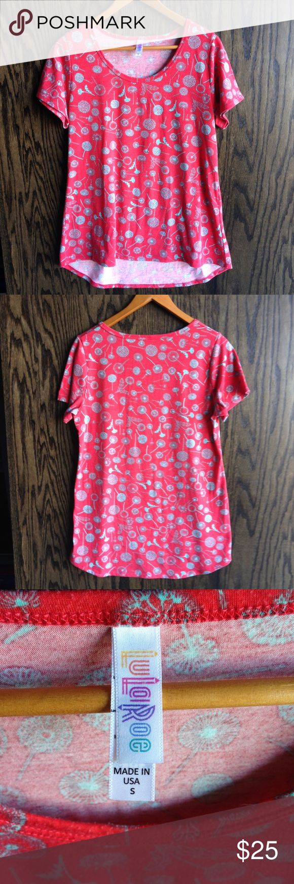 LuLaRoe Red Dandelion Print Gracie Top Pre loved condition. Bet gently used super soft LuLaRoe legging shirt. Perfect gift or a gorgeous gift to yourself 😊 LuLaRoe Tops Tees - Short Sleeve