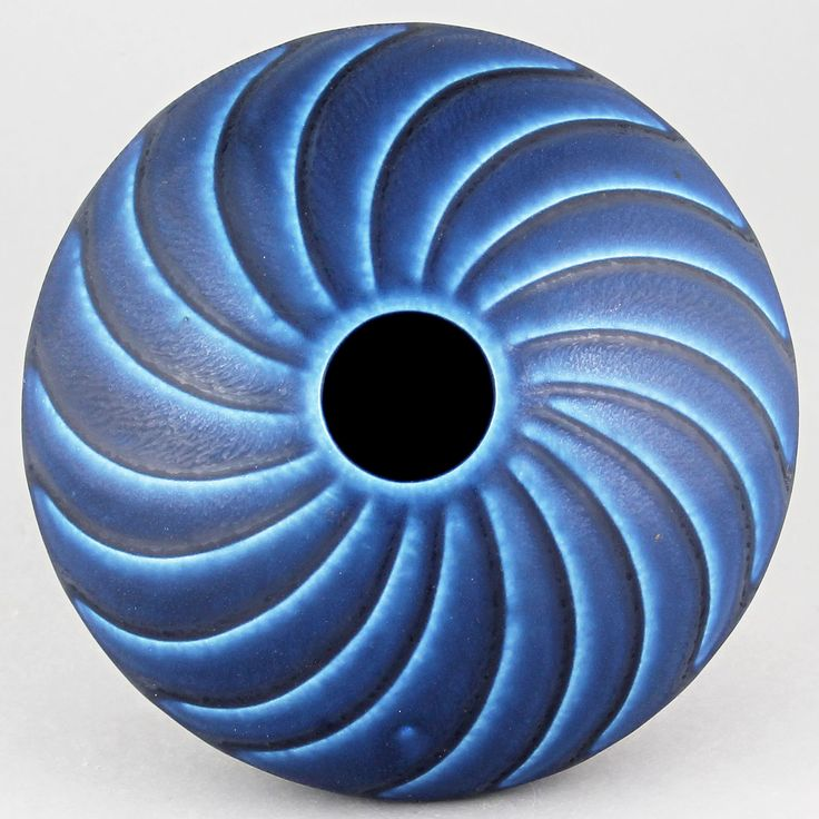 Wilhelm Kage (1950s) Amazing Discus Vase (Blue)