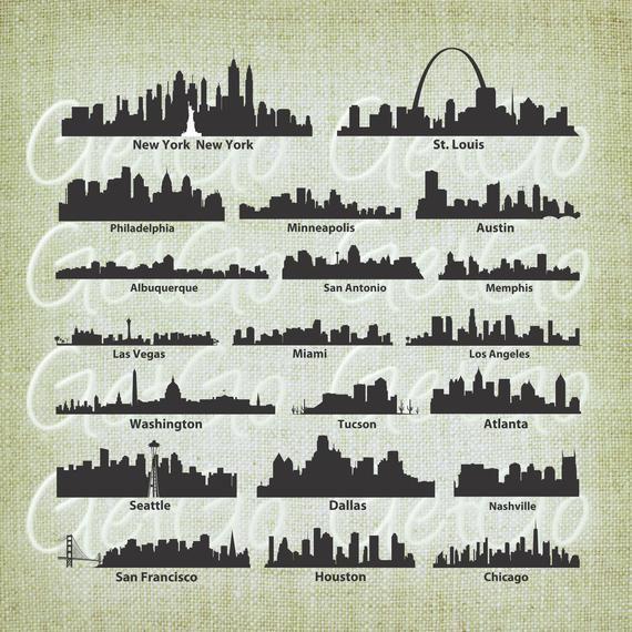 Set Of Twenty 20 Us City Scape Skyline Images In Svg Dxf Eps Png And Jpg Formats Instant Download H Skyline Image St Louis Skyline Skyline Painting
