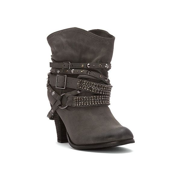 Not Rated Swanky Boot Boots ($72) ❤ liked on Polyvore featuring shoes, boots, grey, gray cowboy boots, rock boots, rock star boots, grey boots and cowgirl boots