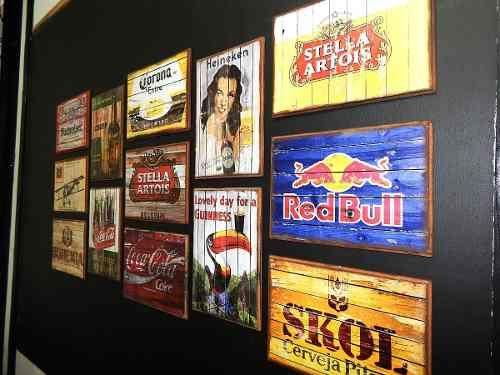 Lindos Quadros Decoração Retro Vintage Cervejas Bar Sala Rio - R$ 15,00