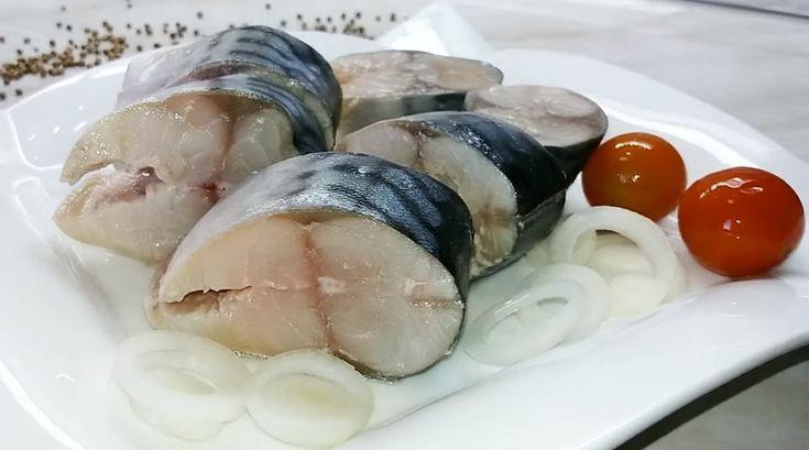 Маринад готовится очень просто, а вкус у рыбы просто волшебный. Мариновать скумбрию мы будем в банке, всего 24 часа. А потом варим картошечку, подаем ее с рыбкой на стол – и наслаждаемся по-домашнему ароматной закуской. Такую малосольную скумбрию можно и для приготовления салатов использовать, и в качестве холодной закуски на стол подавать. Запишите рецепт: и не придется больше покупать соленую рыбу в магазине.