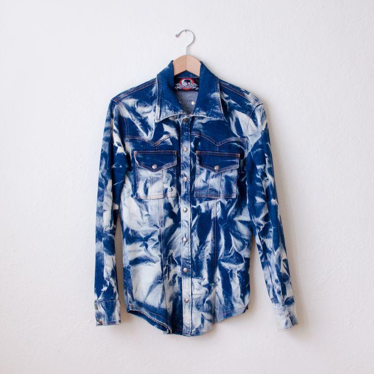 """LIP SERVICE Glaciered & Overdyed Stretch Denim """"Lenny Kravitz's Workshirt"""" shirt #64-72-"""