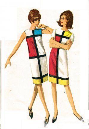 Simplicity 6400 Uncut Mod 60s Mondrian & YSL Inspired DRESS Vintage Sewing Pattern