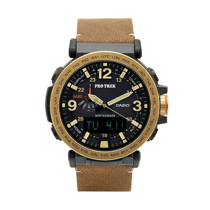 Casio Men's PRO Trek Triple Sensor Leather Analog-Digital Tough Solar Watch - PRG600YL-5CR, Brown