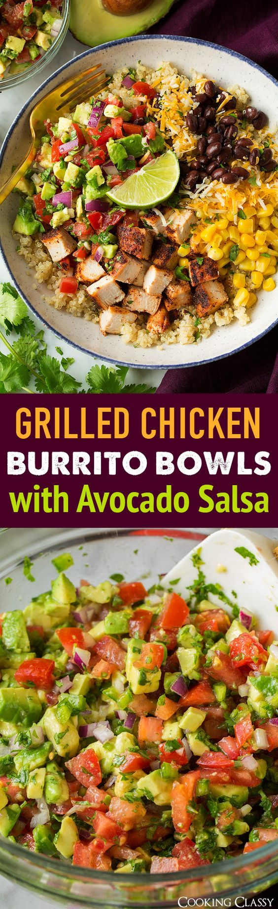 Grilled Chicken and Quinoa Burrito Bowls with Avocado Salsa | Cooking Classy