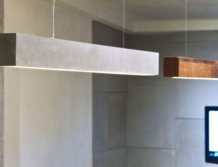 Verlichtingsarmaturen gemaakt van hout en beton