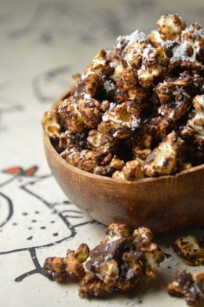 Brown pop-corn, pop-corn, maïs, chocolat, fruits secs