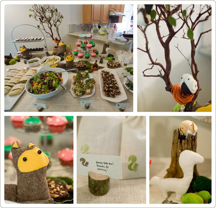 Woodland themed baby shower party event design decor for Animal party decoration