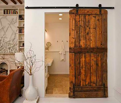 Space saving   industrial or old sliding doors  Saw an industrial one used in a kitchen on Property Brothers