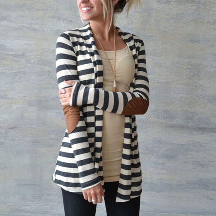 新しいファッション2016秋アウター女性長袖ストライププリントカーディガンカジュアル肘パッチワークニットセータープラスサイズ