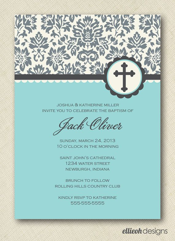 baptism christening first communion invite by ellieohdesigns