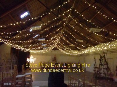 Fairy light canopy added to the barn at the Bield near Perth