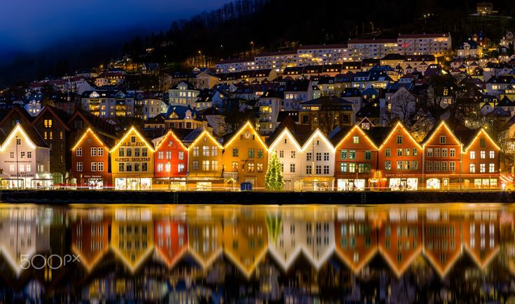 Christmas in Bergen - Christmas lights on the UNESCO World Heritage site of Bryggen in Bergen, Norway.  I wish everyone a happy christmas!