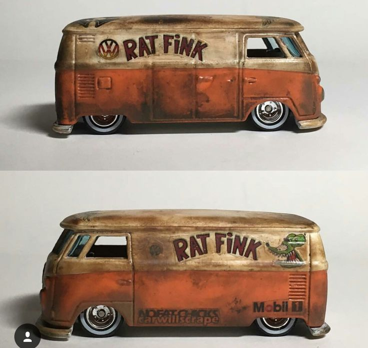Lowered VW Van / Rat Fink design with heavy weathering.