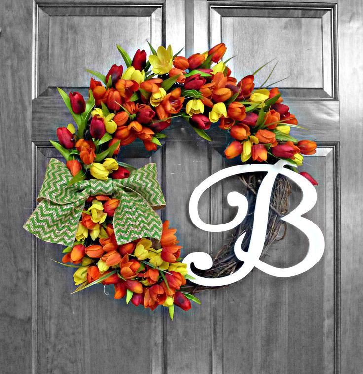 Spring / Summer Wreath - Monogram Wreath - Front Door Wreaths - Seasonal Wreath - Door Wreath - Summer Door Wreaths - Housewarming - Wedding by RefinedWreath on Etsy