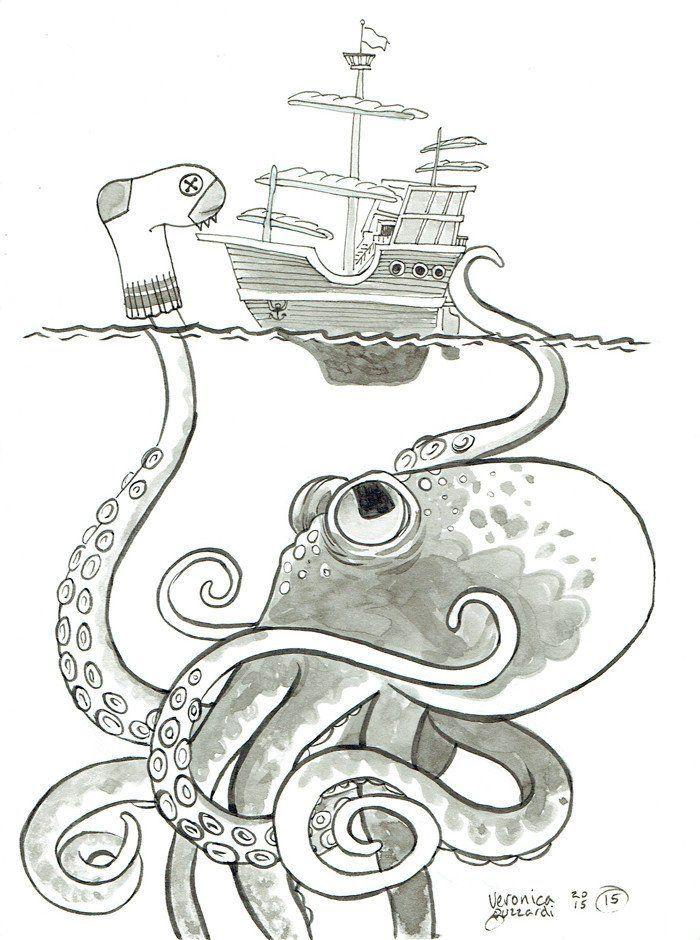 Sea Monster Postcard En 2019 Colorear Dibujos A Lápiz