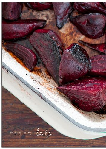 Marinated half inch slices for a few minutes in olive oil, balsamic vinegar and fresh thyme. Roasted at 400 for 25-30 min. Served with a dollop of Greek yogurt and toasted walnuts.  This recipe is not from interest - a friend just told me about it and I needed a beet pic!