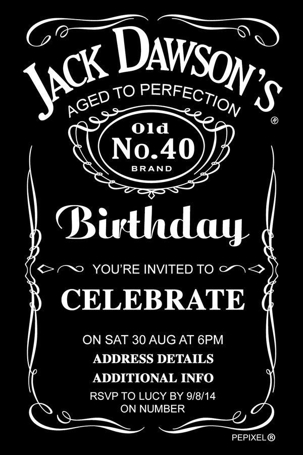 Jack Daniels Birthday Digital Printable Invitation Template ...