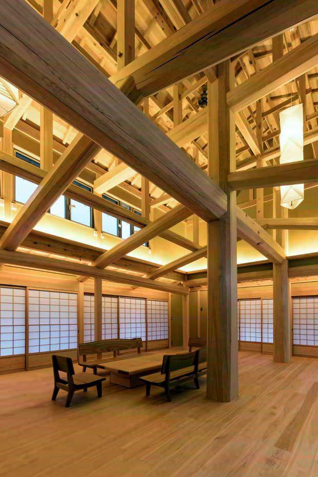 新築 吹抜け 木組み 石場建ての家 2020 木造建築 建築家 古民家