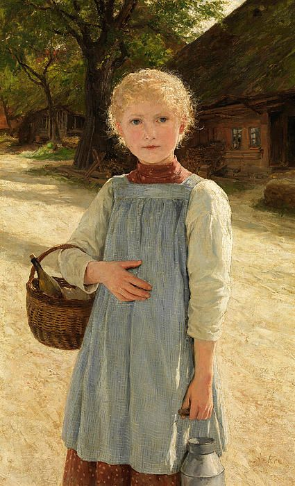 Girl With Milk Jug And Basket Albert Anker
